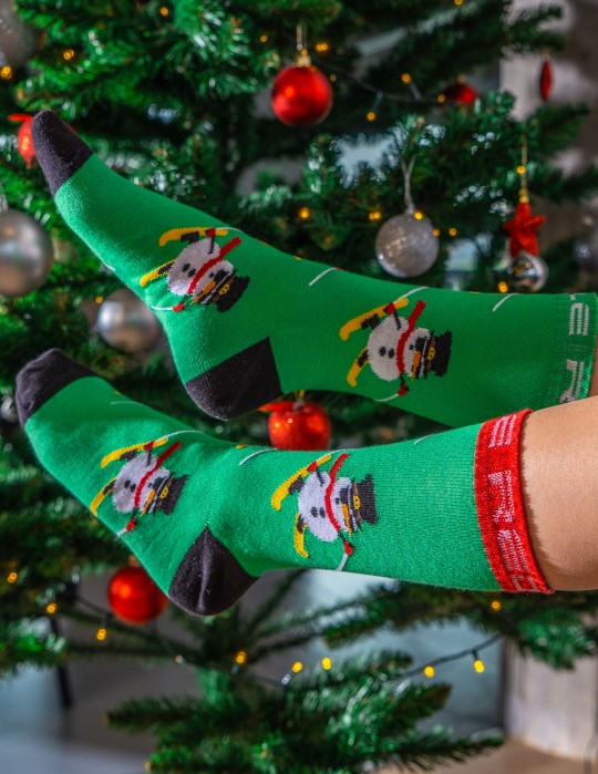 DOUBLE FUN Socks Snow Man Like A Boss Light Green